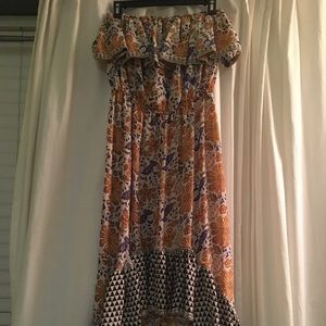 Strapless patterned Anthropology dress size M